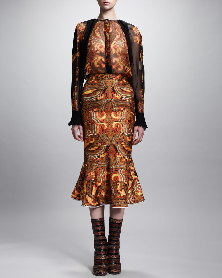Givenchy New Flame Printed Trumpet Skirt