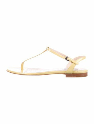 Bottega Veneta Patent Leather T-Strap Sandals White