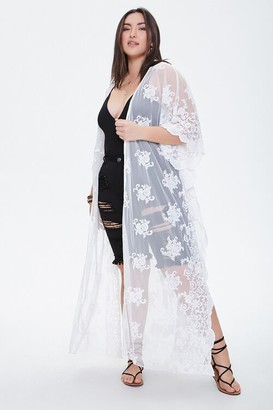 Forever 21 Plus Size Floral Mesh Cardigan