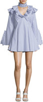 Caroline Constas Micki Choker-Collar V-Neck Ruffle-Trim Dress, Blue/White Stripe