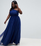 Asos DESIGN Curve tulle one shoulder maxi dress