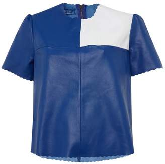 Manley Boxter Leather Tee Cobalt & White