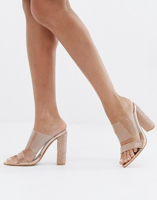 Public Desire Birthday Suit clear rose gold rhinestone mules