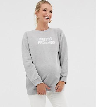 Asos DESIGN Maternity sweatshirt with baby in progress-Grey