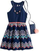 Knitworks Girls 7-16 & Plus Size Chevron Skirt Skater Dress with Necklace & Crossbody Purse