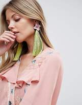 Asos Statement Metal Flower and Sparkle Tassel Earring