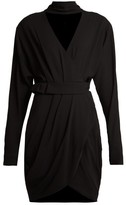 Versace Wrap-front Stretch-crepe Mini Dress - Womens - Black