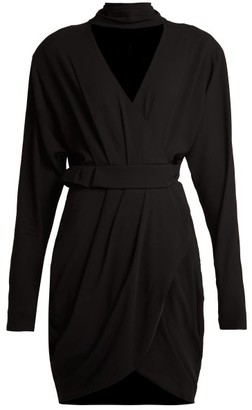 Versace Wrap-front Stretch-crepe Mini Dress - Black