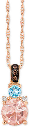 "LeVian Le Vian Chocolatier Multi-Gemstone (2/3 c.t. t.w.) and Diamond Accent 18"" Pendant Necklace in 14k Rose Gold"