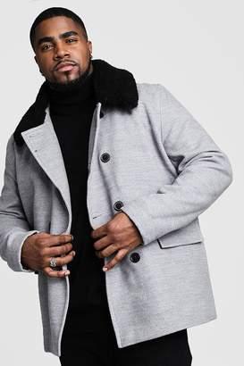 BoohoomanBoohooMAN Mens Grey Big & Tall Borg Collar Wool Blend Pea Coat, Grey
