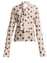 Natasha Zinko Tie-neck polka-dot silk-crepe blouse