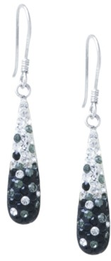 Giani Bernini Pave Two Tone Crystal Teardrop Earrings Set in Sterling Silver. Available in Clear and Blue, Clear and Black, Clear and Pink or Clear and Red