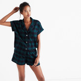 Madewell Flannel Bedtime Pajama Shorts in Dark Plaid
