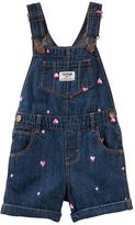 Osh Kosh Toddler Girl Schiffli Embroidered Diamonds & Hearts Denim Shortalls