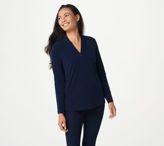 Susan Graver Every Day by Liquid Knit V-Neck Top