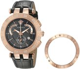 Versace Men's 23C82D008 S009 V-Race Diamond-Accented Rose Gold Ion-Plated Watch with Leather Band