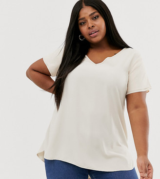 New Look Plus Curve tunic tee in off white