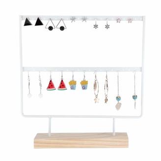 Feelava Earring Organizer Stand Wooden Based Metal Ear Stud Holder Jewellery Necklace Hanging Storage Rack