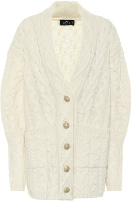 Etro Cable-knit wool-blend cardigan