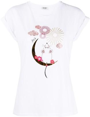 Liu Jo crystal-embellished graphic T-shirt