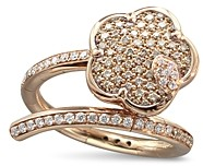 Pasquale Bruni 18K Rose Gold Joli White & Champagne Diamond Flower Bypass Ring