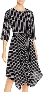 T Tahari Striped Handkerchief Hem Dress