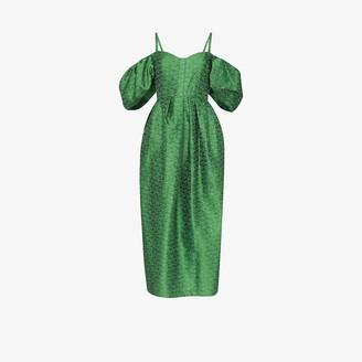 Rosie Assoulin Off-The-Shoulder Midi Dress