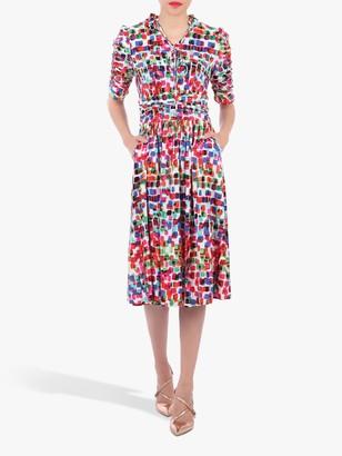 Jolie Moi Tie Front Half Sleeve Midi Dress, White/Multi