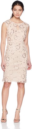 Alex Evenings Women's Petite Embroidered Cocktail Dress with Keyhole Cutout