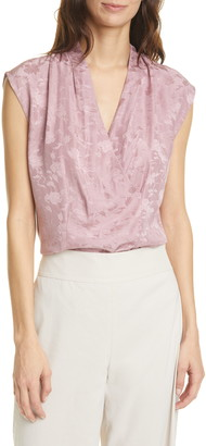 Tailored by Rebecca Taylor Rose Jacquard Silk Blend Top