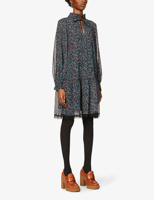 See by Chloe Floral-print puff-sleeve crepe mini dress