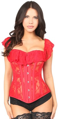 DaisyCorsets Women's Plus Size Top Drawer Red Sheer Lace Steel Boned Corset 3X