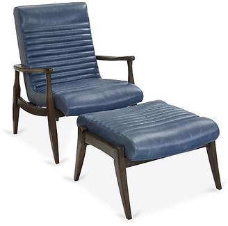 One Kings Lane Erik Accent Chair & Ottoman Set - Adriatic