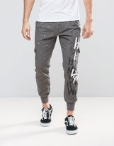 Hero's Heroine Heros Heroine Cuffed Chinos With Graffiti Print