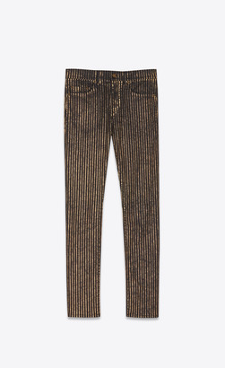 Saint Laurent Cropped Mid-rise Skinny Jeans In Black And Gold Striped Stretch Denim Black Gold 32