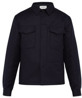 Officine Generale Padded Wool-flannel Shirt - Mens - Navy