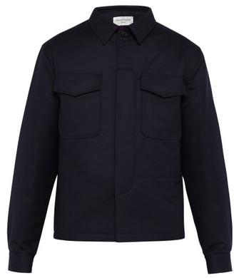 Officine Generale Padded Wool-flannel Shirt - Mens - Navy