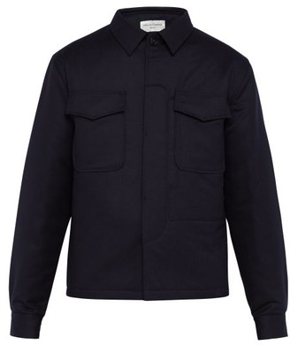Officine Generale Padded Wool-flannel Shirt - Navy