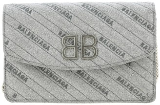 Balenciaga Bb Chain Mini Wallet Bag In Glitter Fabric With All-over Embossed Logo