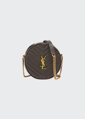 Vinyle YSL Round Quilted Grain de Poudre Crossbody Bag
