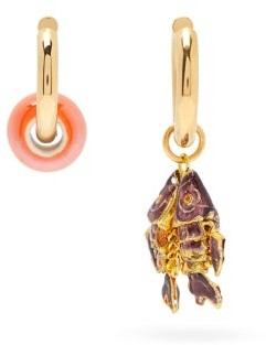 Timeless Pearly Mismatched 24kt Gold-plated Fish Earrings - Gold