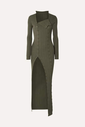 Jacquemus La Robe Maille Azur Ribbed-knit Maxi Dress - Army green