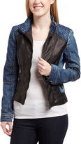 Black & Blue Cross-Stitch Denim Faux Leather Jacket