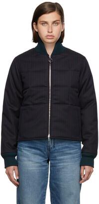 Victoria Beckham Navy & Red Wool Cropped Puffer Jacket