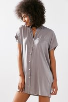 Silence & Noise Silence + Noise Satin Mini Shirt Dress