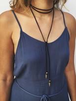 Natalie B Jewelry Roadie Wrap Necklace in Black/Gold