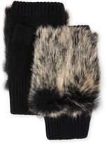 Adrienne Landau Fur-Trim Fingerless Gloves