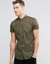 Asos Oxford Shirt In Khaki With Short Sleeves In Regular Fit