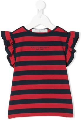 Philosophy Di Lorenzo Serafini Kids striped ruffle-trimmed T-shirt