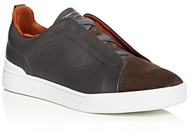 Ermenegildo Zegna Men's Triple Stitch Leather & Suede Slip-On Sneakers
